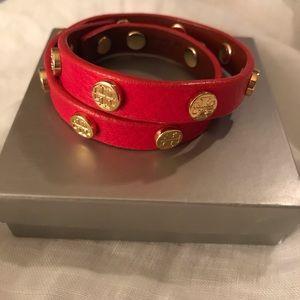 Tory Burch red leather wrap bracelet